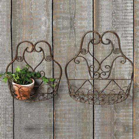 sabatini french country 2-Piece iron wall planter set by .
