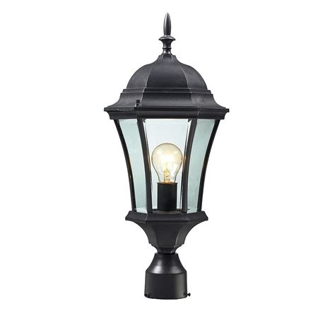 1-Light Black Outdoor Post Mount Light With Clear Beveled .