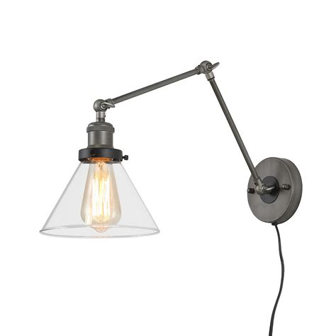 1-Light Dark Gray Wall Lamp Adjustable Plug-In Wall Sconce.