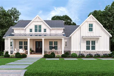 1 Story Farmhouse Plans with Wraparound Porches