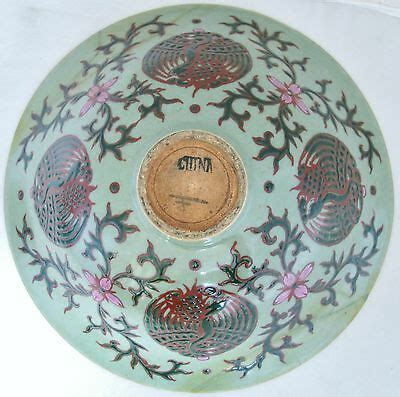 10 5 Chinese Famille Rose Enameled Celadon Green Bowl .
