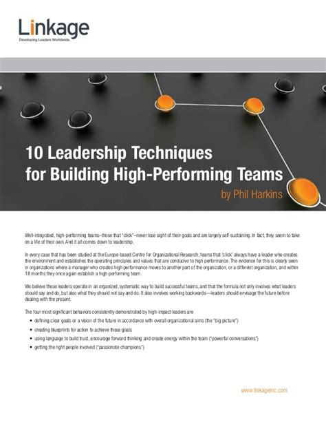 [pdf] 10 Leadership Techniques For Building High-Performing Teams.