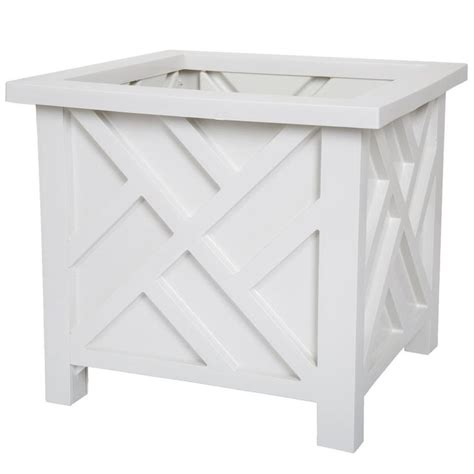 14 75 In X 14 75 In White Plastic Garden Planter Box.