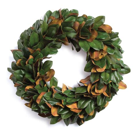 15 Artificial Magnolia Leaf Hanging Wreath -Green .