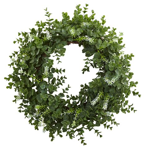 18 In Eucalyptus Double Ring Wreath With Twig Base.