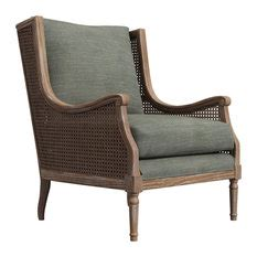 1st Avenue Peoria Dusty Pink Linen Rattan Accent Chair .