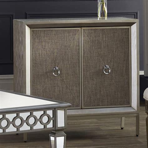 2 Door Wood and Metal Mirror Accent Cabinet