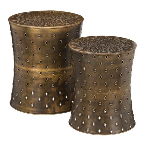 2 Piece Bronze Lotus Garden Stool Set