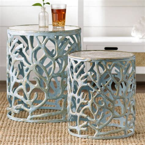 2 Piece Mother of Pearl End Table Set