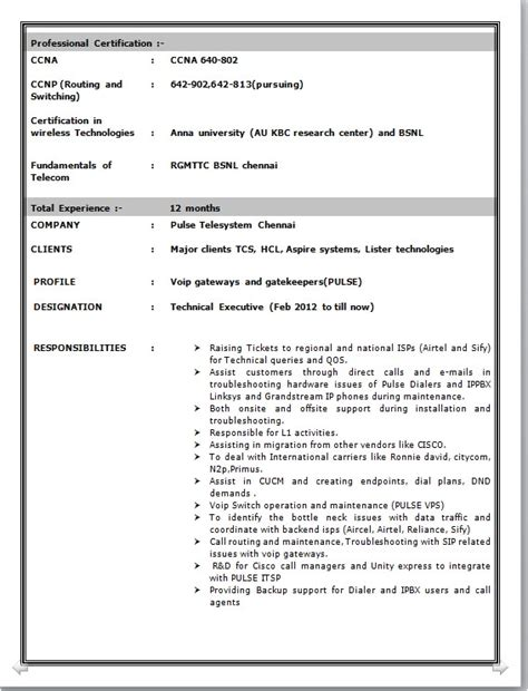 resume format for hardware and networking cisco voip engineer