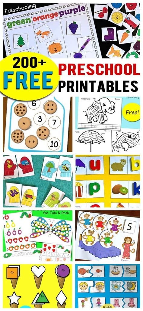 [click]200 Free Preschool Printables  Worksheets.