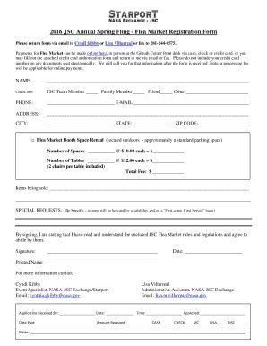 [pdf] 2016 Jsc Annual Spring Fling - Flea Market Registration Form.