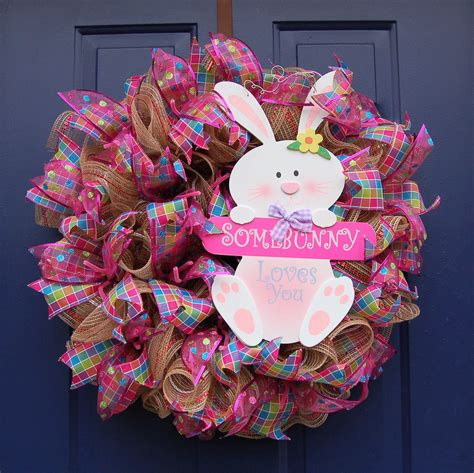22 Easter Deco Mesh Wreath With Bunny Sign Happy Easter .