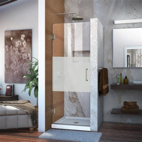 24 -28 Frameless Shower Door With Brushed Nickel Or .