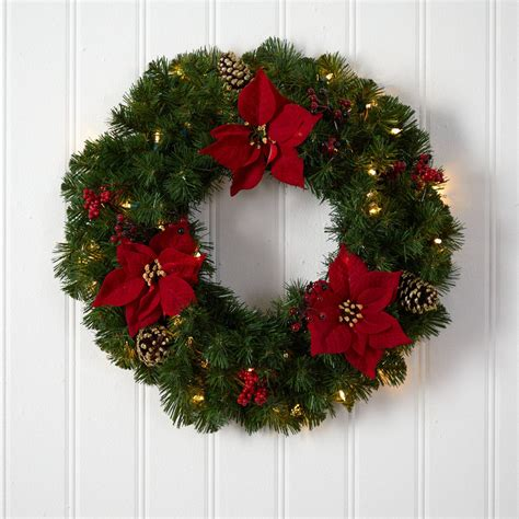 24 Pinecone Berry  Pine Artificial Hanging Wreath -Red .