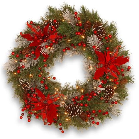 24 Pre-Decorated Led Lighted Christmas Wreath With .