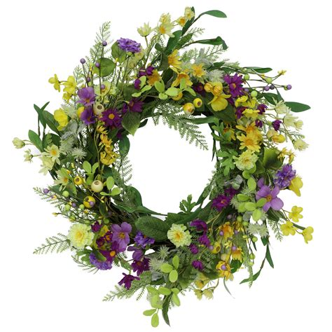 24 In Spring Mixed Flowers Wreath - Homedepot Com.