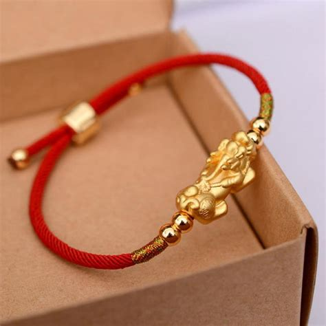 [click]24k Gold Plated Pixiu Red Rope String Lucky Bracelet .