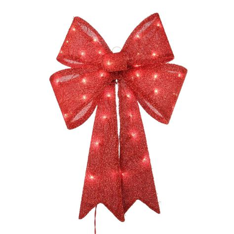 26 Pre-Lit Red Tinsel Bow Christmas Decoration   29 99.
