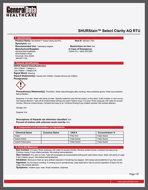2611 Safety Data Sheet 2611 Revision 12 Date Revised 0617