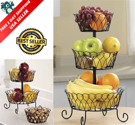 3 Tier Fruit Basket  Ebay.