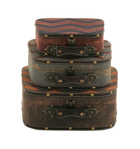 3 Piece Wood/Leather Trunk Set