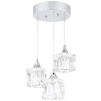 3-Light Polished Chrome Integrated Led Pendant With Clear .