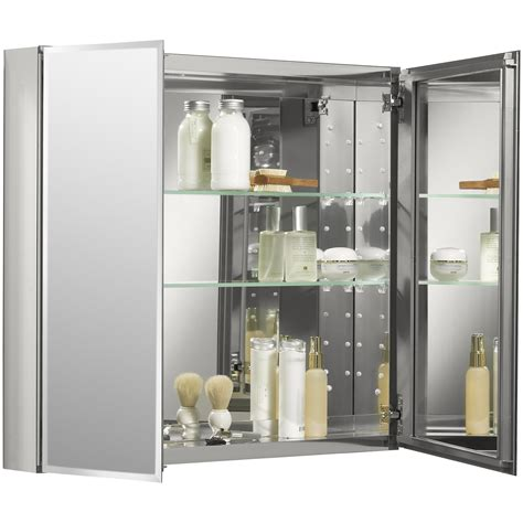 "30"" x 26"" Aluminum Two-Door Medicine Cabinet with Mirrored Doors, Beveled Edges"