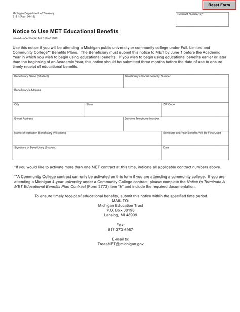 3181 Form 3181 Notice To Use Met Educational Benefits