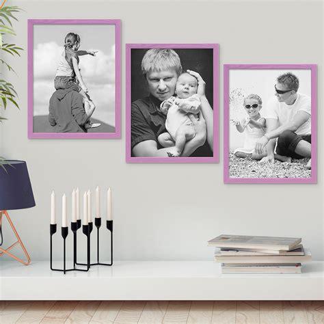 3er Set Bilderrahmen Lila Mit Acrylglas 15x20 Cm