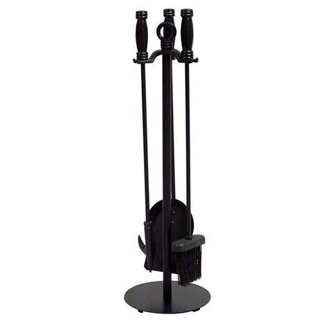 4 Piece Black Fireplace Tool Set