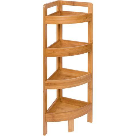 4 Tier Bamboo Storage Corner Unit Bookcase