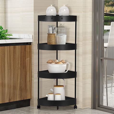 4 Tier Metal Storage Rack with Wheels