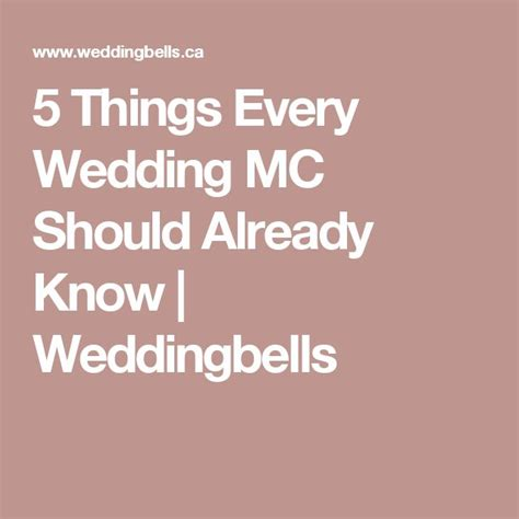 5 Things Every Wedding Mc Should Already Know Weddingbells.