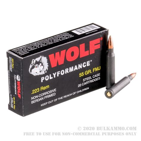 500 Rounds Of Bulk 223 Ammo By Wolf - 55gr Fmj.