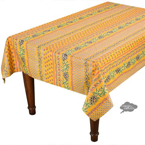 58 Square Olives Yellow Cotton Coated Provence Tablecloth .