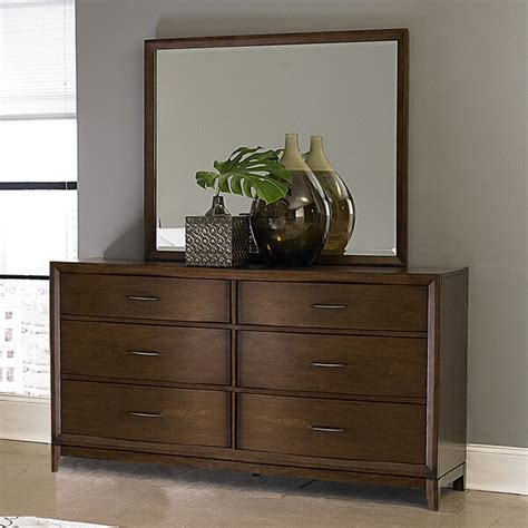 6 Drawer Dresser With Mirror And Rounded Front