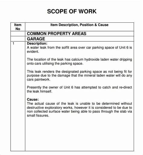 @ 7 Construction Scope Of Work Templates - Word Excel Pdf