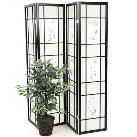 70.25 x 69 Pateros Floral Printed Folding 4 Panel Room Divider