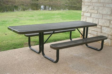8 Foot Expanded Metal Picnic Tables