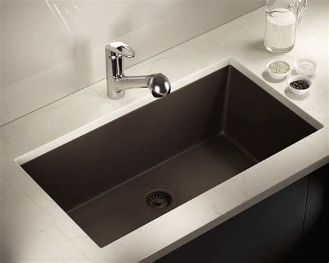 848-Mocha Large Single Bowl Undermount Trugranite Kitchen Sink.