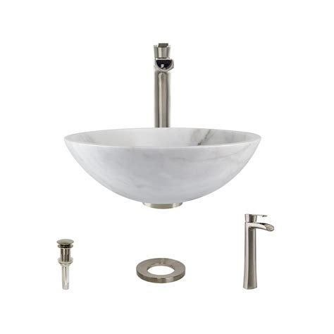 850-White Granite Vessel Sink With Faucet Sink Ring And .