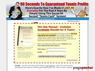 90 Second Tennis Cash System Makes $1,357.19 Daily For Past 9 Years.