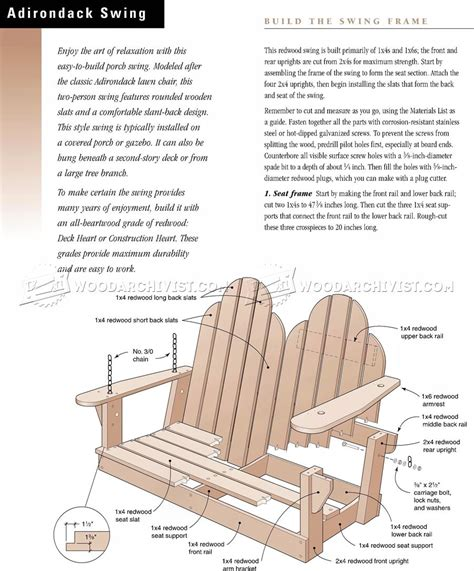 A Frame Adirondack Swing Plans