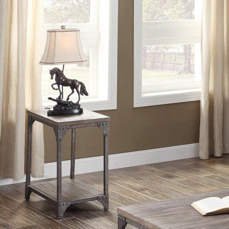 Acme Gorden End Table In Weathered Oak And Antique Silver .