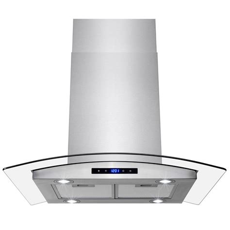 Akdy 30 In Convertible Kitchen Island Mount Range Hood In .