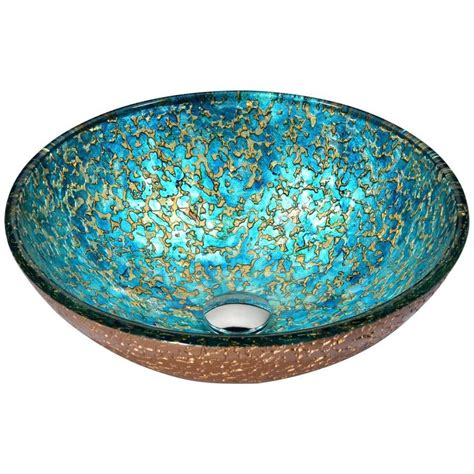 Anzzi Chrona Gold Cyan Mix Tempered Glass Vessel Round .