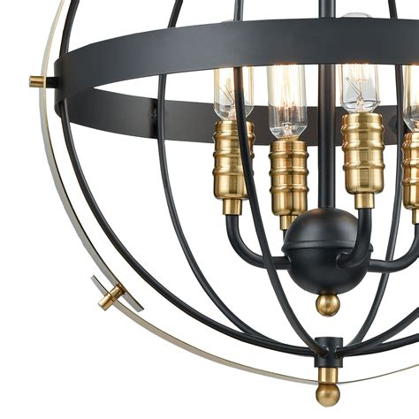 Ar Lighting Caldwell 1 Pendant Matte Black Satin Brass .