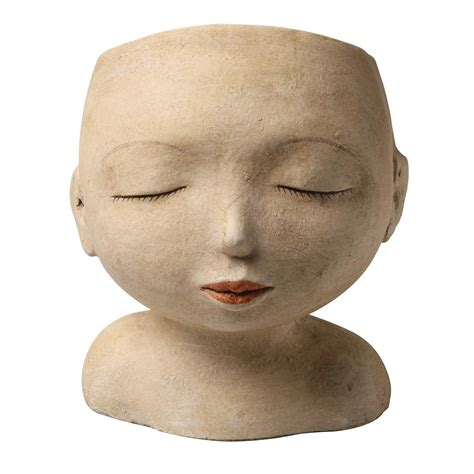 Art  Artifact Head Of A Man Indoor Outdoor Resin Planter .