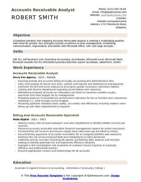 Accounts Receivable Analyst Resume Example